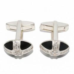Серебряные запонки и зажимы для галстука