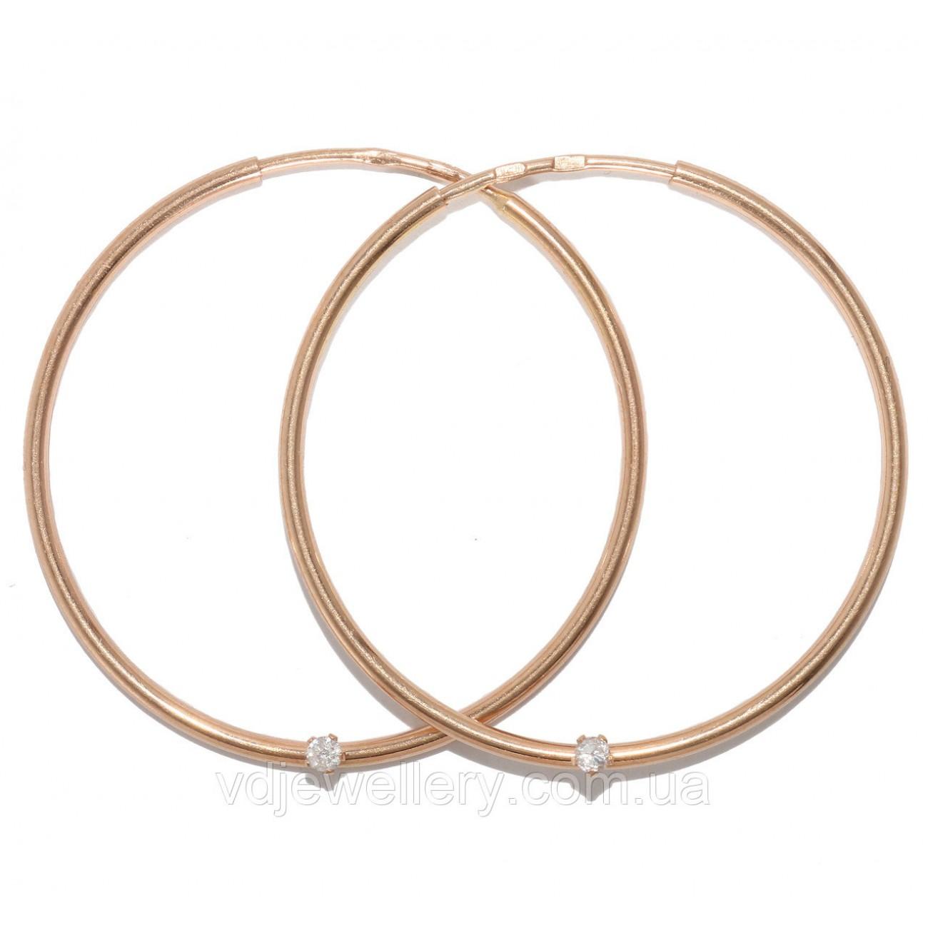 Золотые серьги кольца 30мм(Конго) 316230
