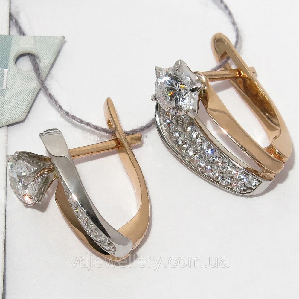 Золотые серьги с камнями сваровски СЗХ-57