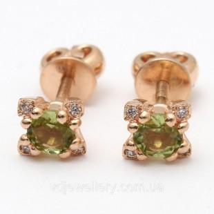 Золотые серьги бриллиантами и хризолитом 1230929
