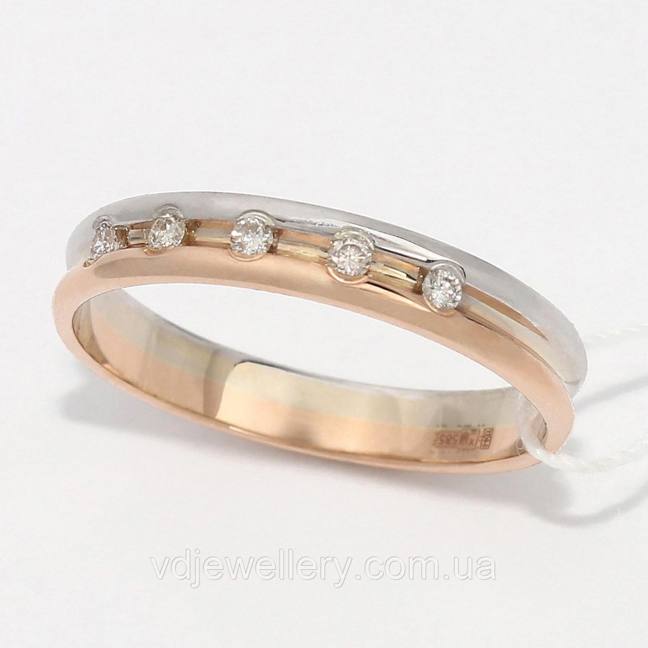 Золотое обручальное кольцо с бриллиантами ХОК-3