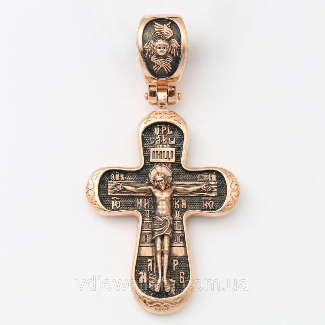 """Золотой крестик """"Распятие Христово. Покров Пресвятой Богородицы"""" 3106"""