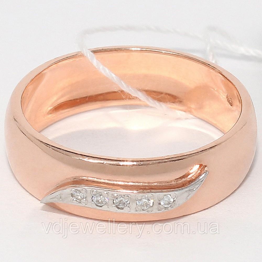 Серебряное позолоченное обручальное кольцо КЖХ-36