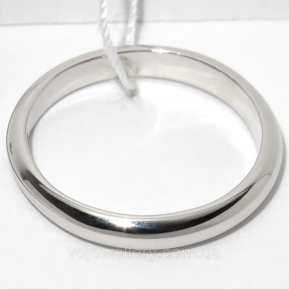 Серебряное родированое обручальное кольцо КЖХ-24