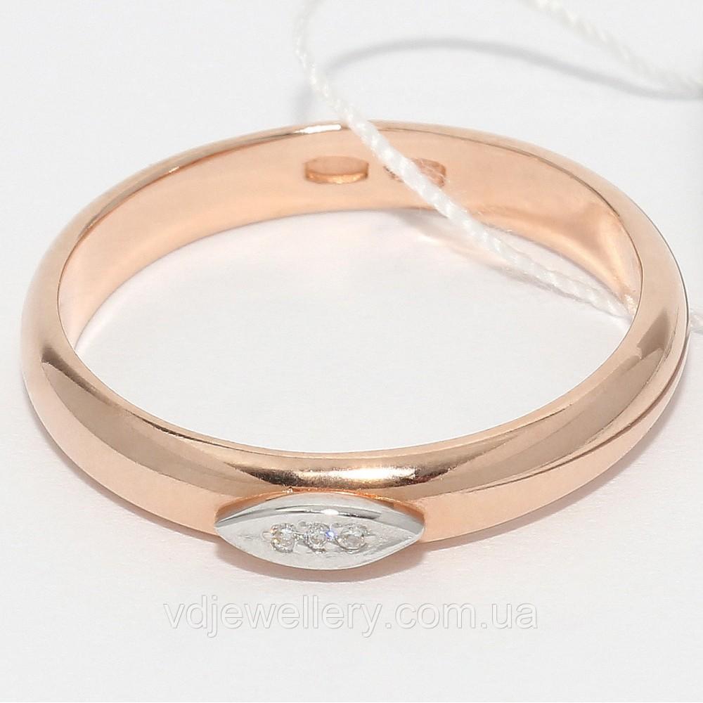 Серебряное позолоченное обручальное кольцо КЖХ-27