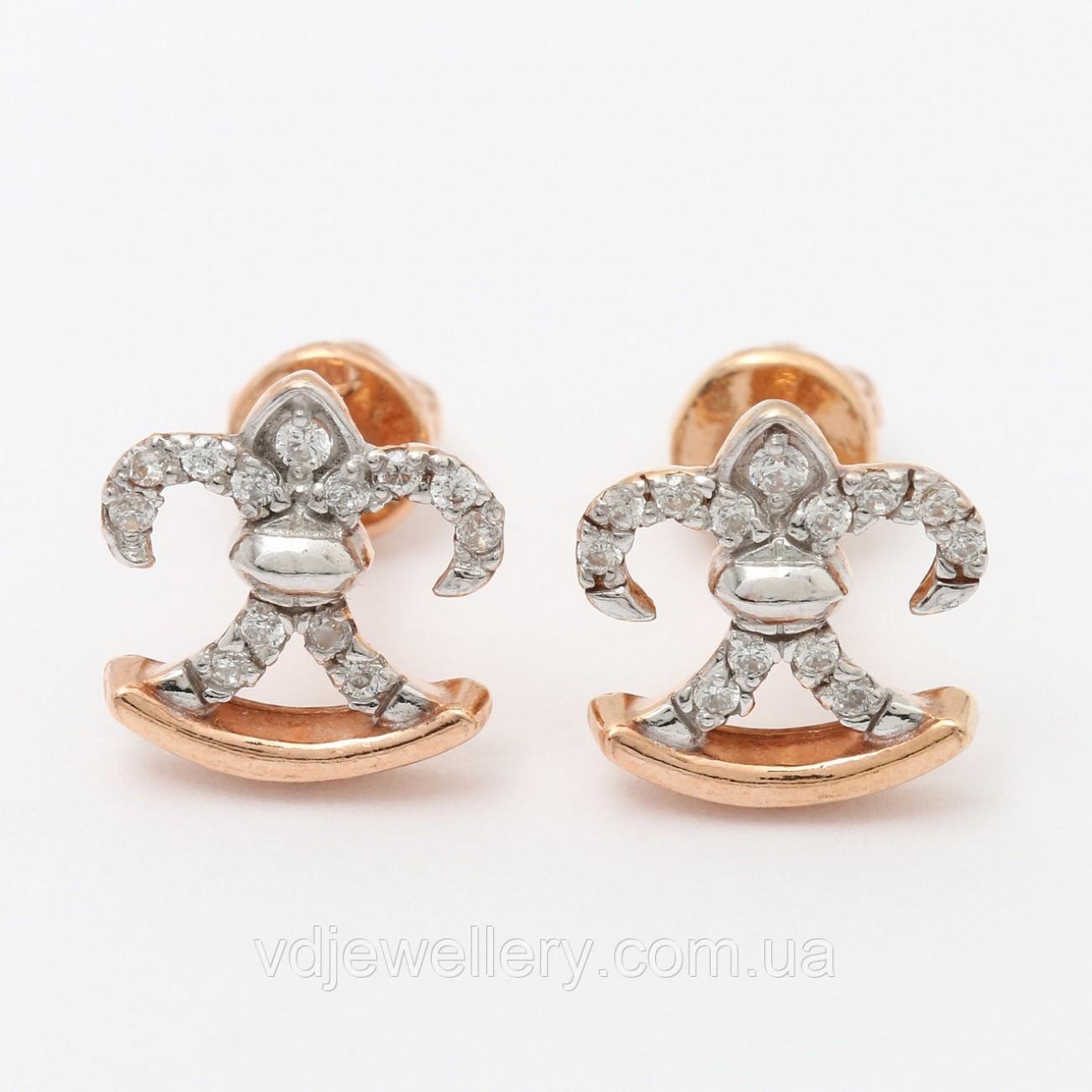 Серебряные позолоченные серьги СЖХ-167