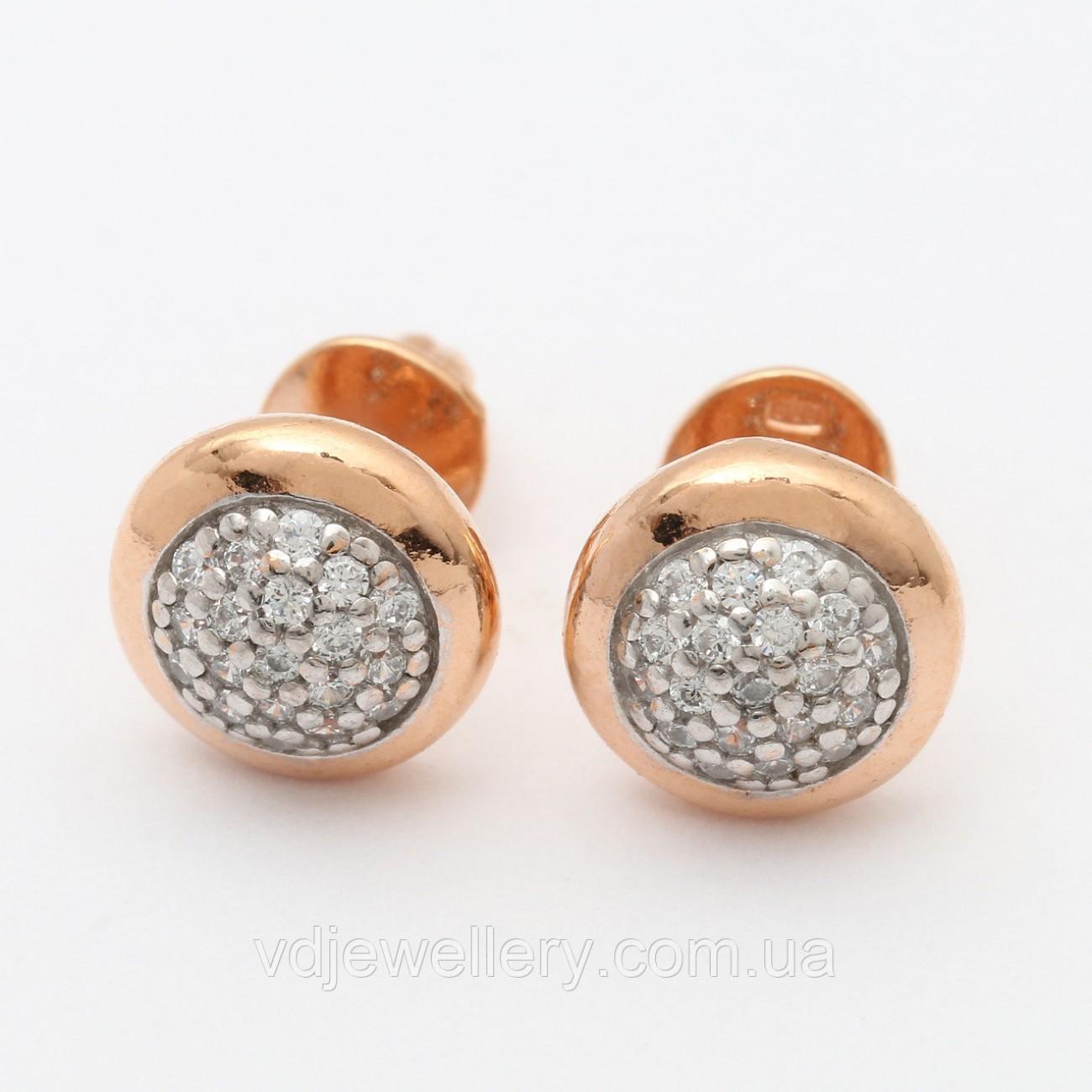 Серебряные позолоченные серьги СЖХ-164