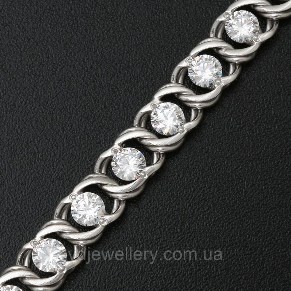 Серебряная цепочка с камнями 4110037-бел