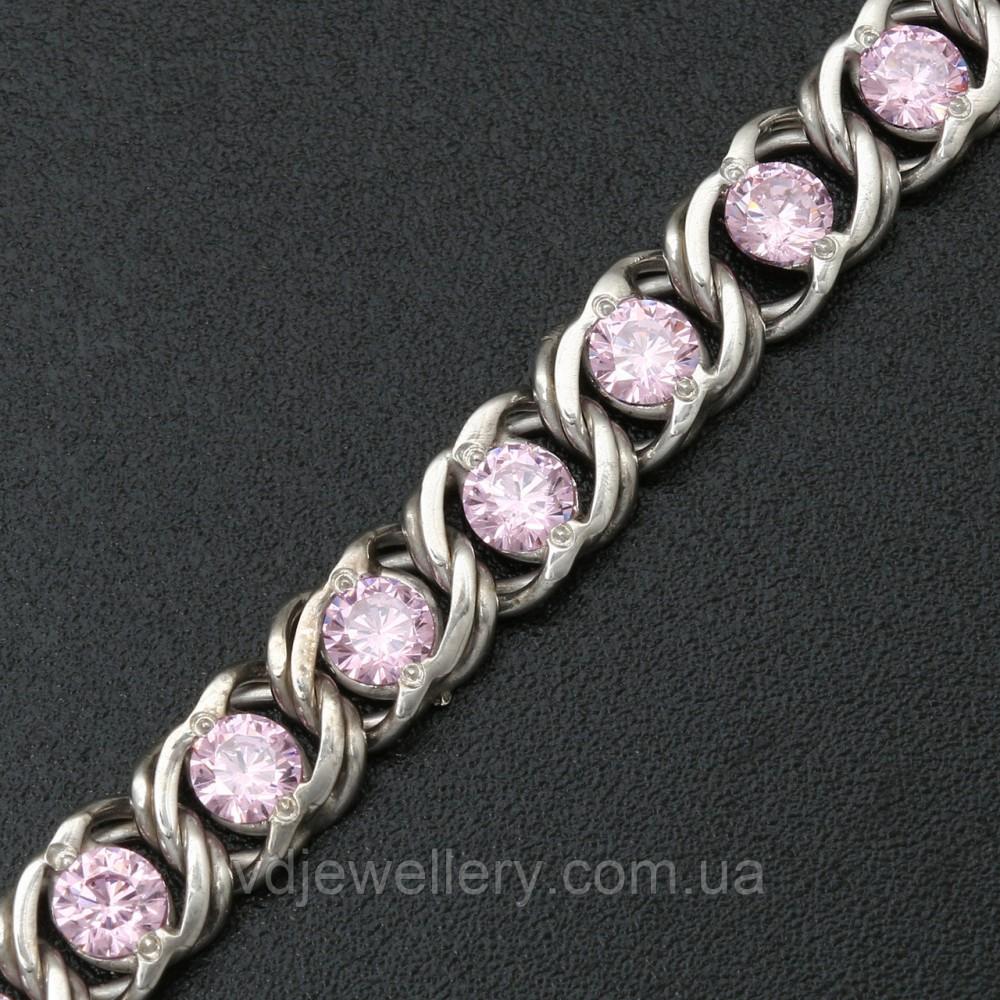 Серебряная цепочка с камнями 4110037-роз
