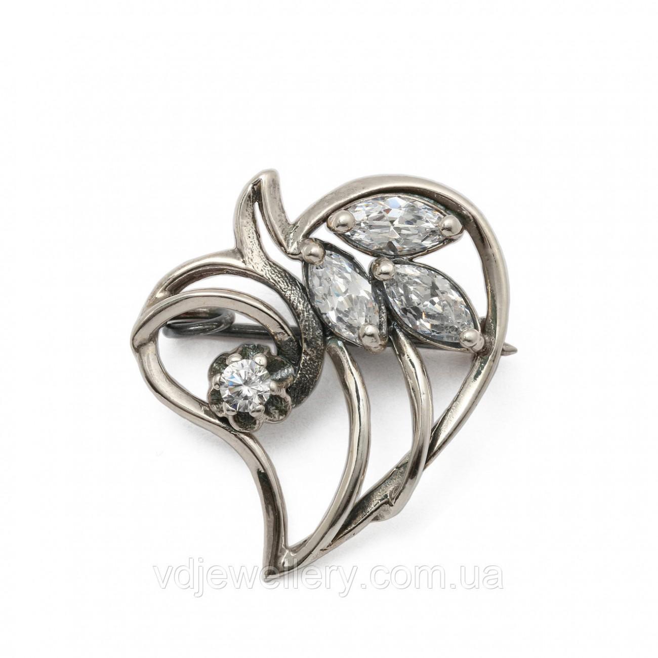 Серебряная брошка 6110052