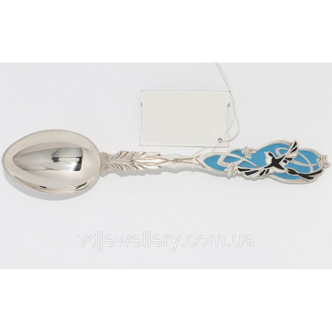 Детская серебряная ложка с ласточкой