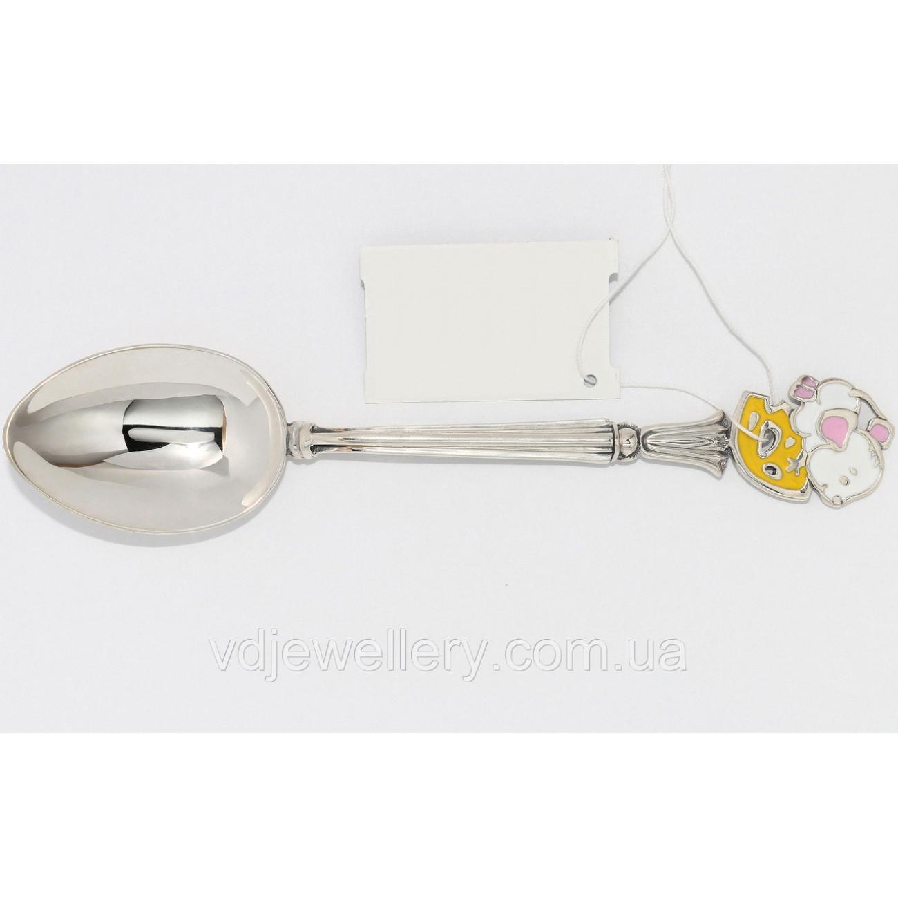Детская серебряная ложка с мышкой