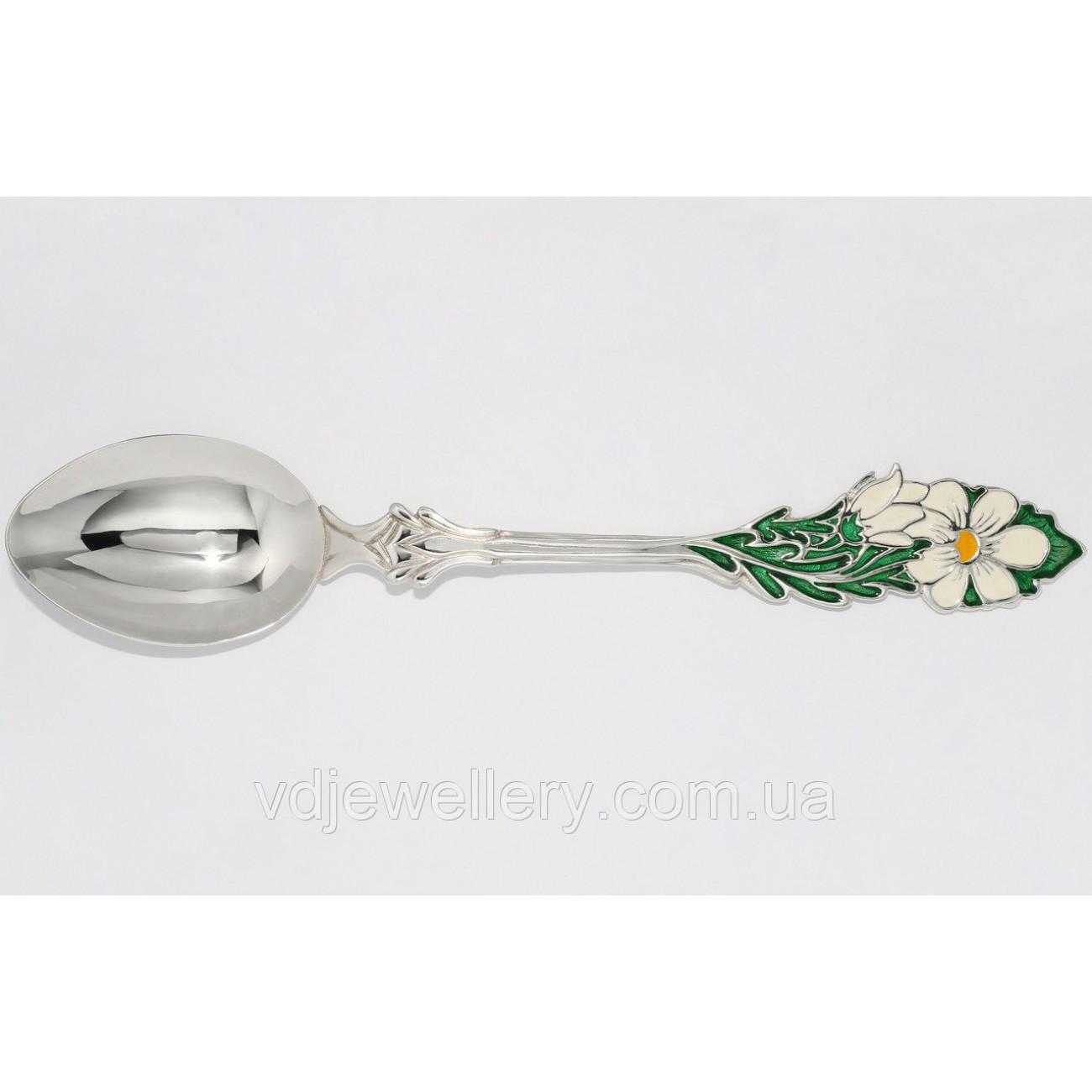 Десертная серебряная ложка Цветы 112ЛТ